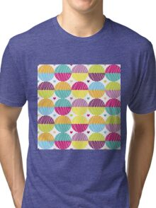 Retro,polka dots,big,cool,pattern,red,hot pink,yellow,orange,green,lime,purple Tri-blend T-Shirt