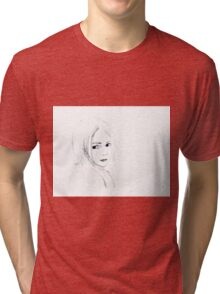 'Ella' portrait of a little girl, alone.  Tri-blend T-Shirt