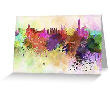 Hong Kong skyline in watercolor background Greeting Card