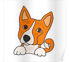 Funny Funky Basenji Puppy Dog Art Poster