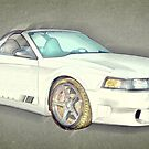 Fourth Generation Mustang Saleen Rag Top Colour Sketch by ChasSinklier
