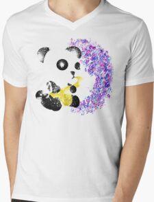 Musical Panda Mess Mens V-Neck T-Shirt