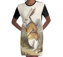 The white Rabbit watch time Graphic T-Shirt Dress