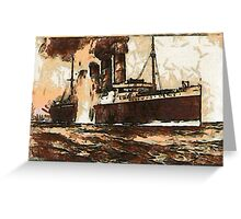 A digital painting of  R.M.S. Lusitania, hit by torpedos off Kinsale Head, Ireland 1915 Greeting Card