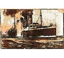 A digital painting of  R.M.S. Lusitania, hit by torpedos off Kinsale Head, Ireland 1915 Photographic Print