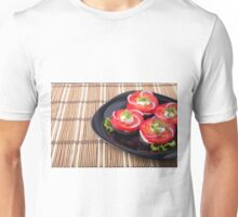 Fresh sliced tomatoes on a black plate close-up Unisex T-Shirt