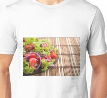 Side view of the transparent plate with the vegetarian salad closeup Unisex T-Shirt