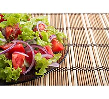 Side view of the transparent plate with the vegetarian salad closeup Photographic Print