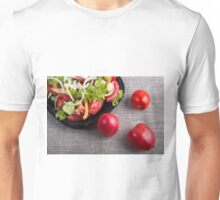 Fresh tomatoes and a part of a plate with vegetarian salad Unisex T-Shirt