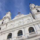 Front of a white church in Porto Alegre city - Brazil. by trarbach