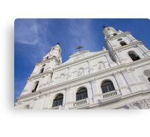 Front of a white church in Porto Alegre city - Brazil. Canvas Print