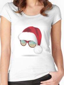 Santa hat with tropical beach sunglasses. Women's Fitted Scoop T-Shirt