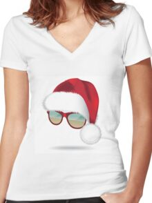 Santa hat with tropical beach sunglasses. Women's Fitted V-Neck T-Shirt