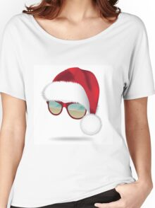 Santa hat with tropical beach sunglasses. Women's Relaxed Fit T-Shirt