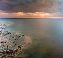 Moody Lake Michigan Sunrise on Wisconsin Coast by Kenneth Keifer