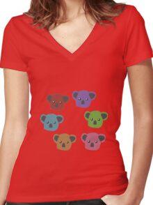 Autumn/Fall Koalas Women's Fitted V-Neck T-Shirt
