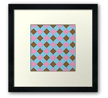 Blue, brown and pink argyle pattern Framed Print