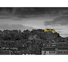 Stirling castle above the rooftops Photographic Print