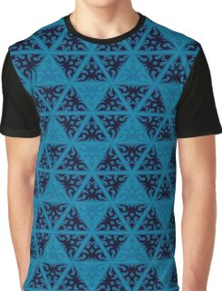 Blue Texture Graphic T-Shirt