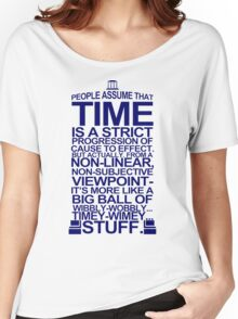 DOCTOR WHO TYPOGRAPHY Doc Dr BBC Tardis Time Dalek New Tenth Timey Wimey Women's Relaxed Fit T-Shirt