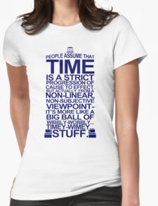 DOCTOR WHO TYPOGRAPHY Doc Dr BBC Tardis Time Dalek New Tenth Timey Wimey Womens Fitted T-Shirt
