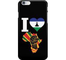 I Love Africa Map Black Power Lesotho Flag T-Shirt iPhone Case/Skin