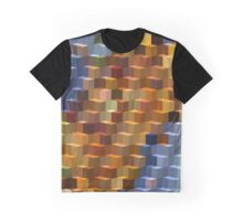 Abstraction #080 Blue Orange Block Graphic T-Shirt