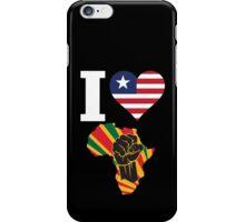 I Love Africa Map Black Power Liberia Flag T-Shirt iPhone Case/Skin