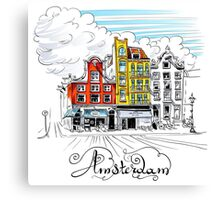 Amsterdam typical houses, Holland, Netherlands Canvas Print