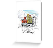 Amsterdam typical houses, Holland, Netherlands Greeting Card