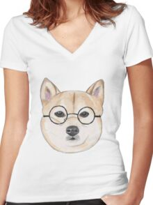 Shiba Inu With Round Glasses Women's Fitted V-Neck T-Shirt