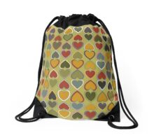 October Double Hearts on Green Drawstring Bag