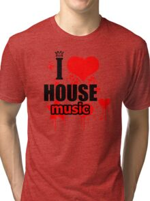 I Love House Music Men Logo Tri-blend T-Shirt