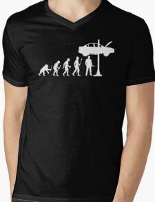 Evolution Of Man and Mechanic Funny Shirt Mens V-Neck T-Shirt