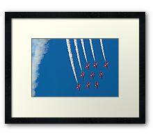 Diamond Nine Roll - The Red Arrows !! - Farnborough 2014 Framed Print