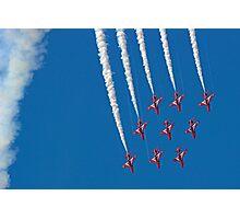 Diamond Nine Roll - The Red Arrows !! - Farnborough 2014 Photographic Print