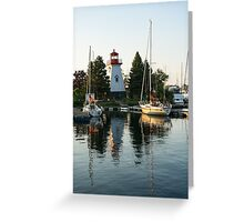 Picture Perfect - Little Lighthouse Framed by Yachts Greeting Card