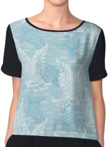 Sea Turtles and Fish in Soft Blue Hues with White Kelp Chiffon Top