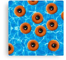 Floating Cat Donut Party Canvas Print