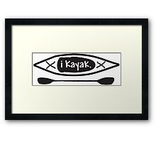iKayak - Kayak and paddle black and white illustration Framed Print