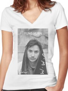 Yung Hurn Portait Women's Fitted V-Neck T-Shirt