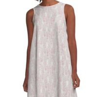 Red Seahorses and White Coral Pieces on Gray A-Line Dress