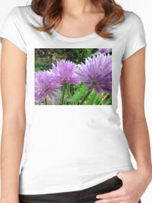 Chive Flowers Women's Fitted Scoop T-Shirt