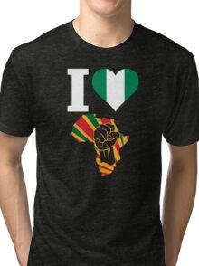 I Love Africa Map Black Power Nigeria Flag T-Shirt Tri-blend T-Shirt