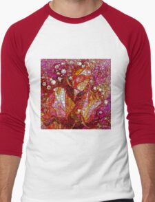Rosebuds and Baby's Breath Abstracted Men's Baseball ¾ T-Shirt