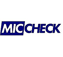Mic Check Slogan - Royal Blue Photographic Print