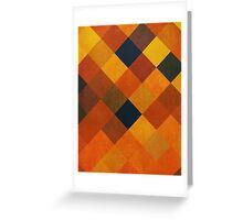 Abstraction #087 Orange Red Gold Blocks Diamonds Greeting Card