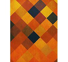 Abstraction #087 Orange Red Gold Blocks Diamonds Photographic Print