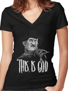 Freddy Krueger - This, is god - Black & White Women's Fitted V-Neck T-Shirt