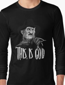 Freddy Krueger - This, is god - Black & White Long Sleeve T-Shirt